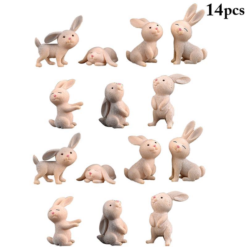 14 Uds. Micropaisaje de Pascua lindo conejito artesanía miniatura adorno de jardín de hadas artesanía hogar Decoración Festival para Pascua