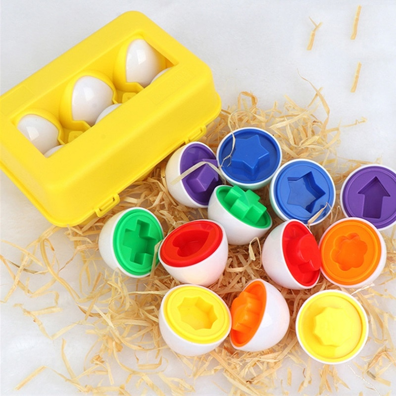 12pcs Baby Montessori Learning Math Toy Smart Eggs Puzzle Matching Toys Building Blocks For Children