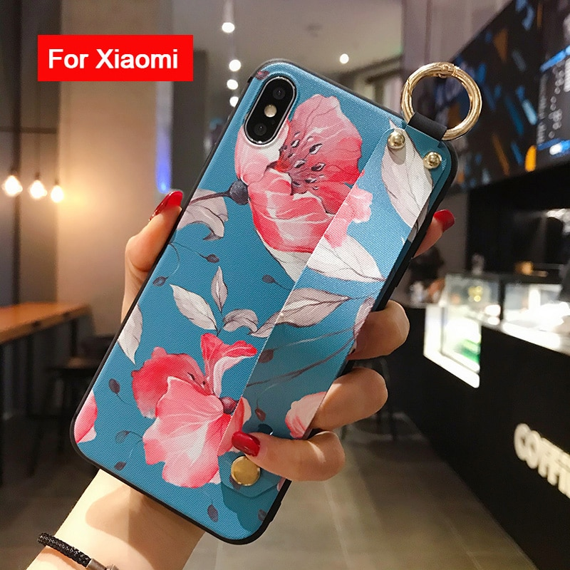Flower Phone Holder Case For Redmi Note 4X 5A 6 7 8 9s K30 K20 Pro Case For Xiaomi 9 8 A3 Lite CC9 5X 6X Soft Wrist strap Case
