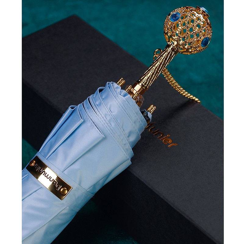 Gold Fashion Three Fold Creative Umbrella Black Patio Umbrellas Waterproof Windproof Wedding Women Gift Paraplu Rain Gear EH50UM enlarge