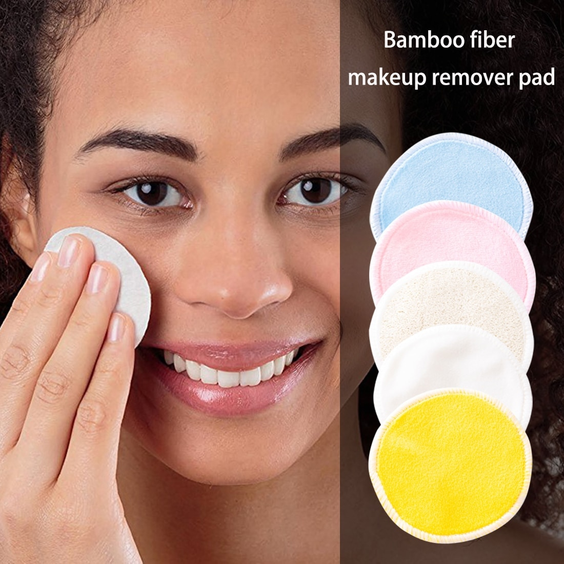 Reusable Bamboo Makeup Remover Pads 12pcs/Pack Washable Rounds Cleansing Facial Cotton Make Up Removal Tool