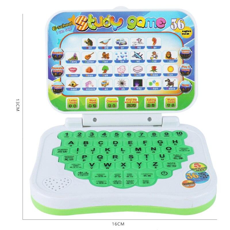Ordenador portátil chino de aprendizaje de inglés, juguete para niños, niñas, niños M09