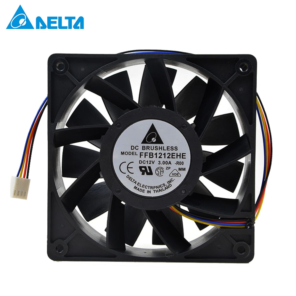 For Delta FFB1212EHE 120*120*38mm 12038 high speed DC 12V 3.0A for bitcoin miner case cooling fan powerful new nmb original 12038 24v 0 46a 4715kl 05t b40 120 120 38mm cooling fan