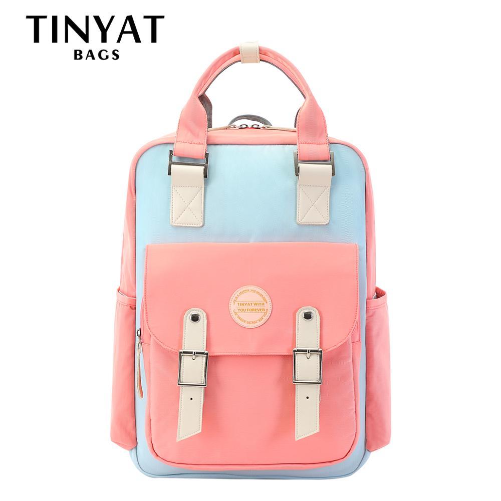 TINYAT-حقائب ظهر للكمبيوتر المحمول مقاس 15 بوصة للنساء ، حقائب ظهر مدرسية للبنات للمراهقين ، للمدرسة المتوسطة ، حقيبة سفر باللون الوردي