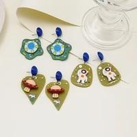 acrylic colorful alien spaceman planet spaceship earrings women man earring