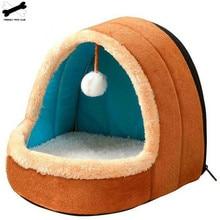 Animal de compagnie chien chat lit chiot maison avec jouet balle chaud doux coussin pour animaux de compagnie chien chenil chat château pour livraison directe
