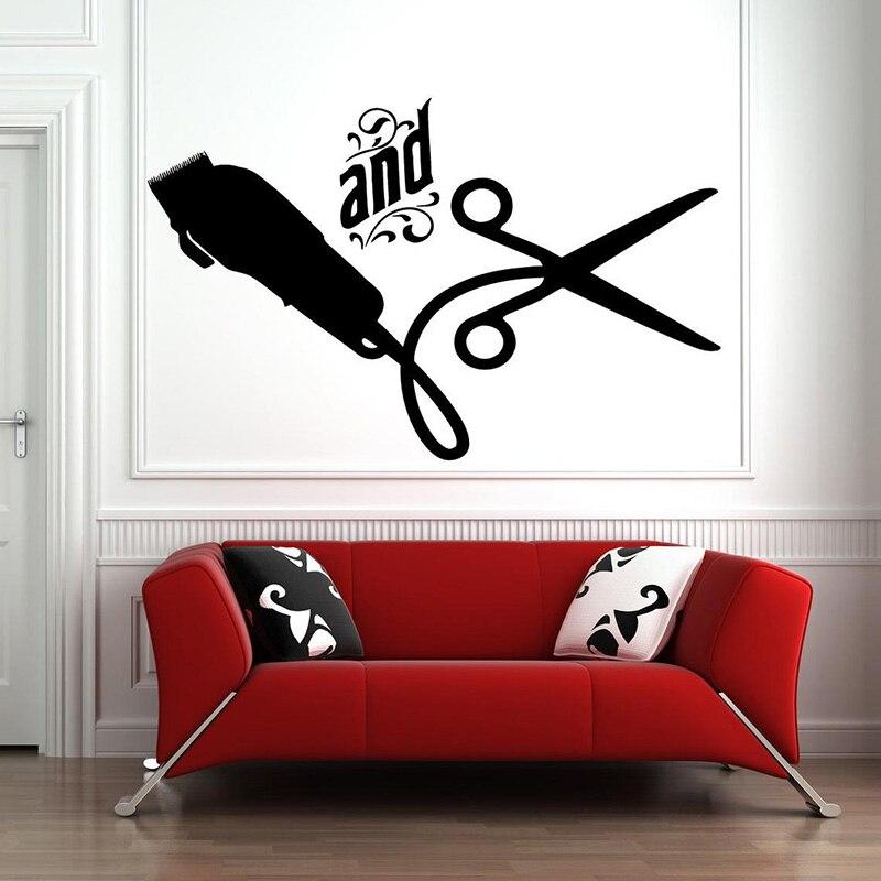 Barbero tienda ventana hombre Hipster pegatina de pared tijeras de barbero Barbero herramientas murales de pared pelo Solon decoración E319