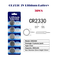cr2330 5pcs1card 260mah lithium 3v button battery ecr2330 br2330 cell coin batteries for mp3 watch electronic toy remote