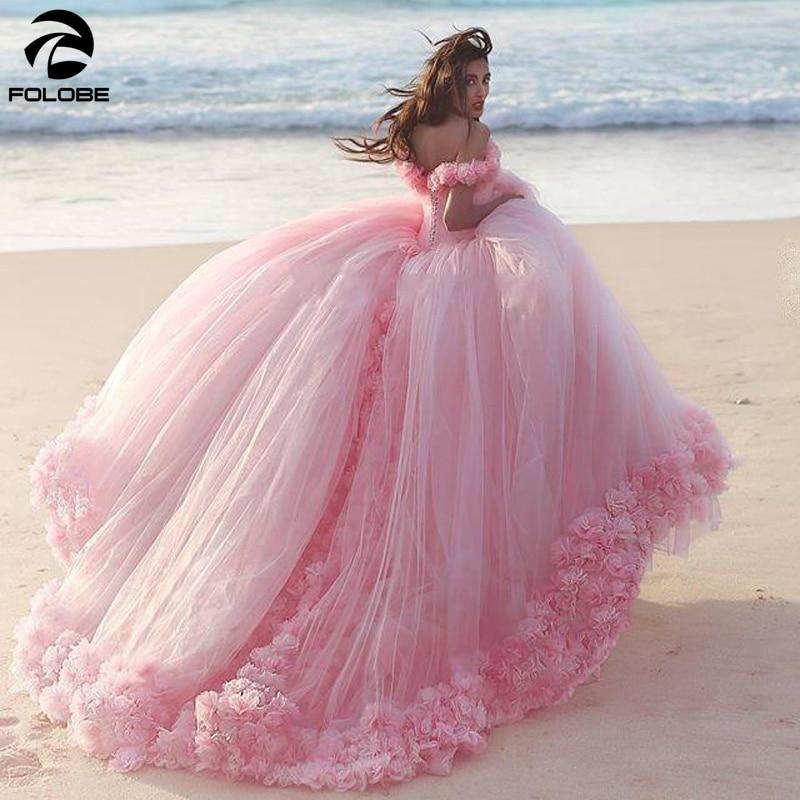 Novo inchado 2020 rosa quinceanera vestidos princesa cinderela formal longo vestido de baile fora do ombro 3d flores doce 16 vestido