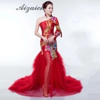 one shoulder long sleeve red mermaid evening dress summer sexy mesh party dresses luxury embroidery chinese wedding qipao gown