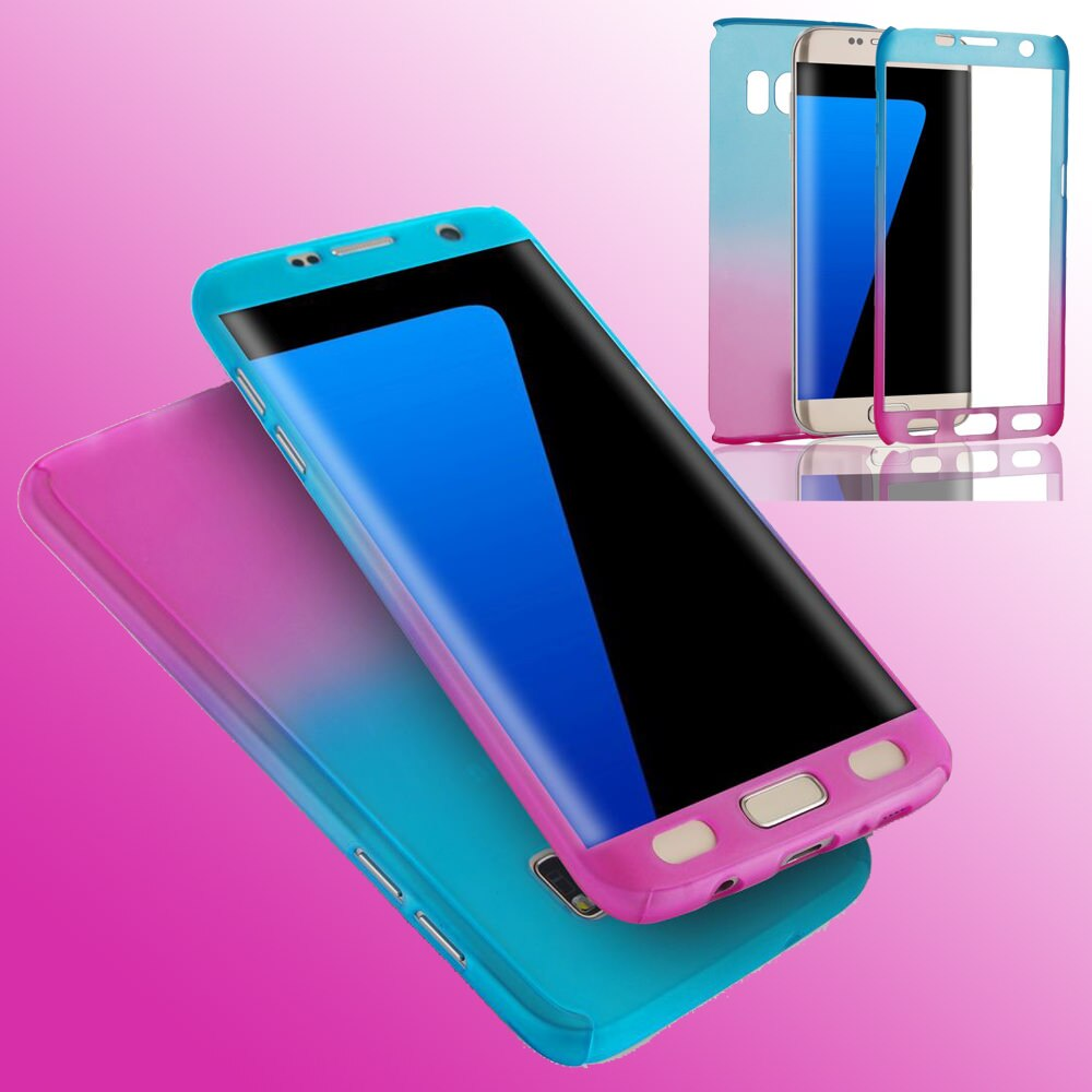 Moderno gradiente cor caixa do telefone para samsung galaxy s9 plus s8 protetor de tela cheia ultra fina capa para samsung s7 borda coque