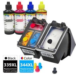 339XL 344XL OfficeJet 6313 7110 7130 7310 7410 K7100 Printer Ink Cartridge Replacement for HP Inkjet 339 344 XL