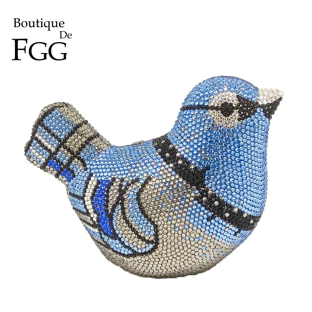 Boutique De FGG Crystal Bird Evening Clutch Bag For Women Fashion Handbags and Purses Mini Metal Wedding Bag Party Clutches