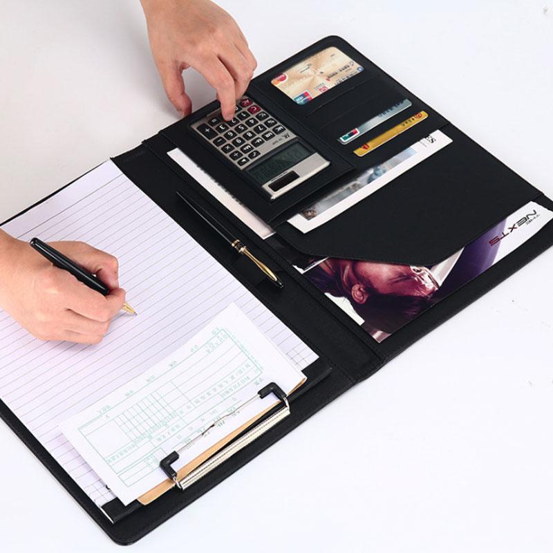 Bloc-notes en cuir PU personnalisé A4 porte-documents organisateur de fichiers avec calculatrice sac de Document daffaires porte-carte Padfolio