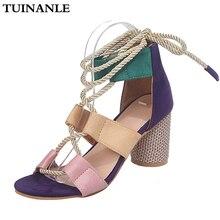 TUINANLE Women Sandals 2020 New Summer Espadrilles High Heel Open Toe Sandals Hemp High Heel Gladiator Sandals Women Plus Size