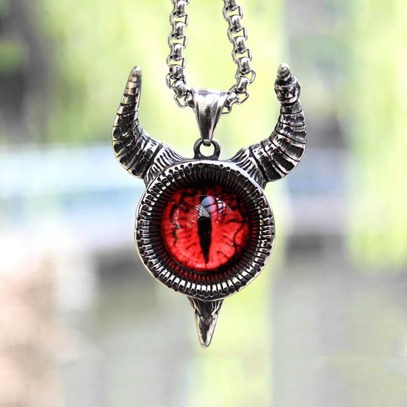 Vintage Stainless Steel Satan Goat Horns Pendant Necklace Men Women Lucifer Demon Eye Pendant Punk Hip Hop Pagan Jewelry Gift