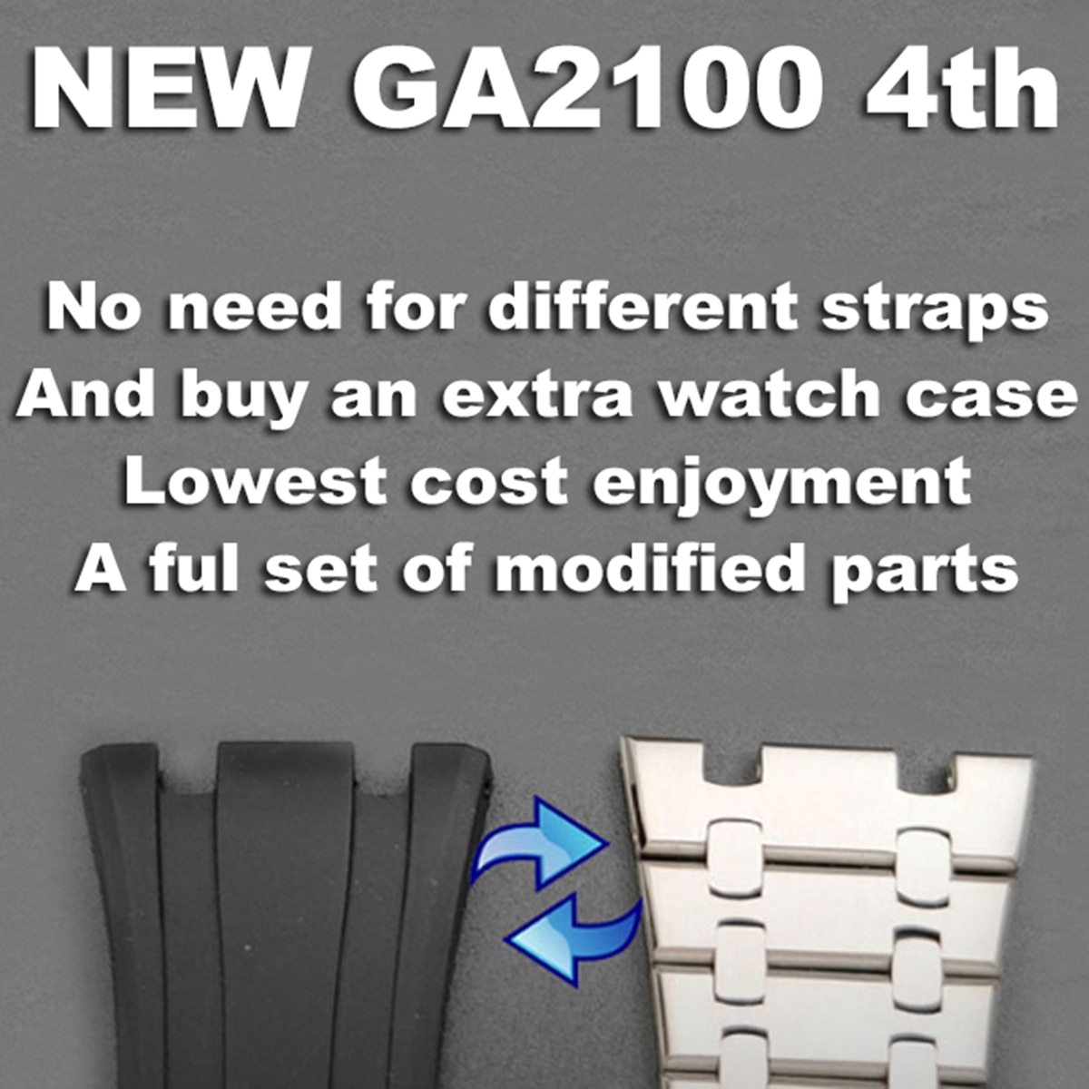 Casioak NEW GA2100 4th Generation Mod Watchband for GA2100/2110 Metal Bezel Bracelet Case Rubber Watchstrap with screws tools