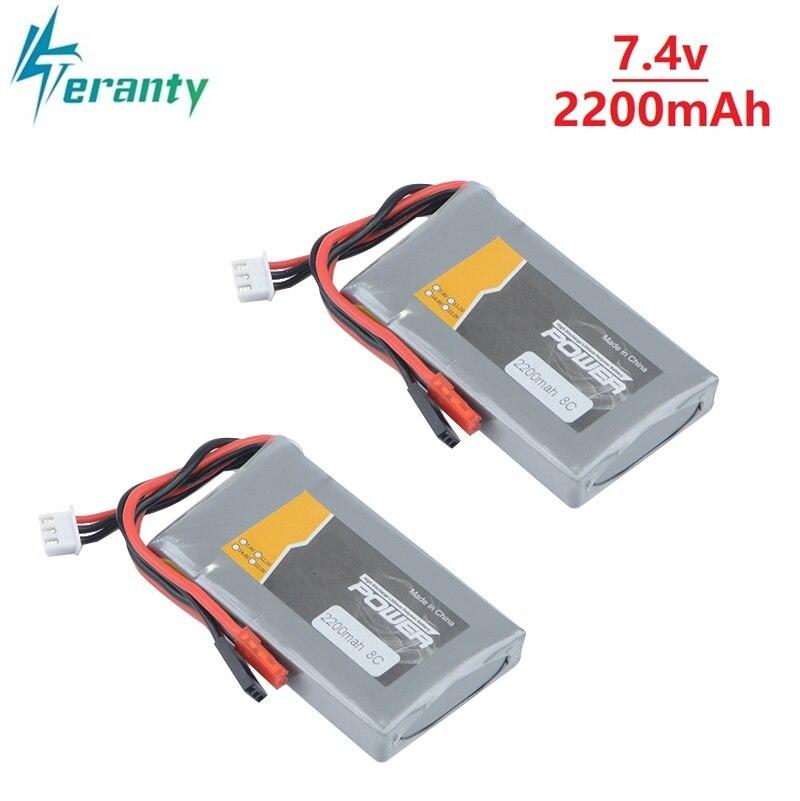 2 шт./компл. RC Li-Po 2S 7,4 V 2200MAH 8C батарея для Flysky GT3B T6 Futaba 14SG 16SZ 18SZ 2,4 Ghz FASSTest 14ch t10J передатчик