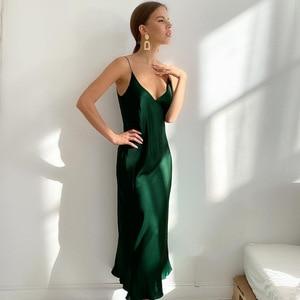 cFrench suspender long skirt 2021 European and American spring new products women's dress satin drape V-neck inner base skirt
