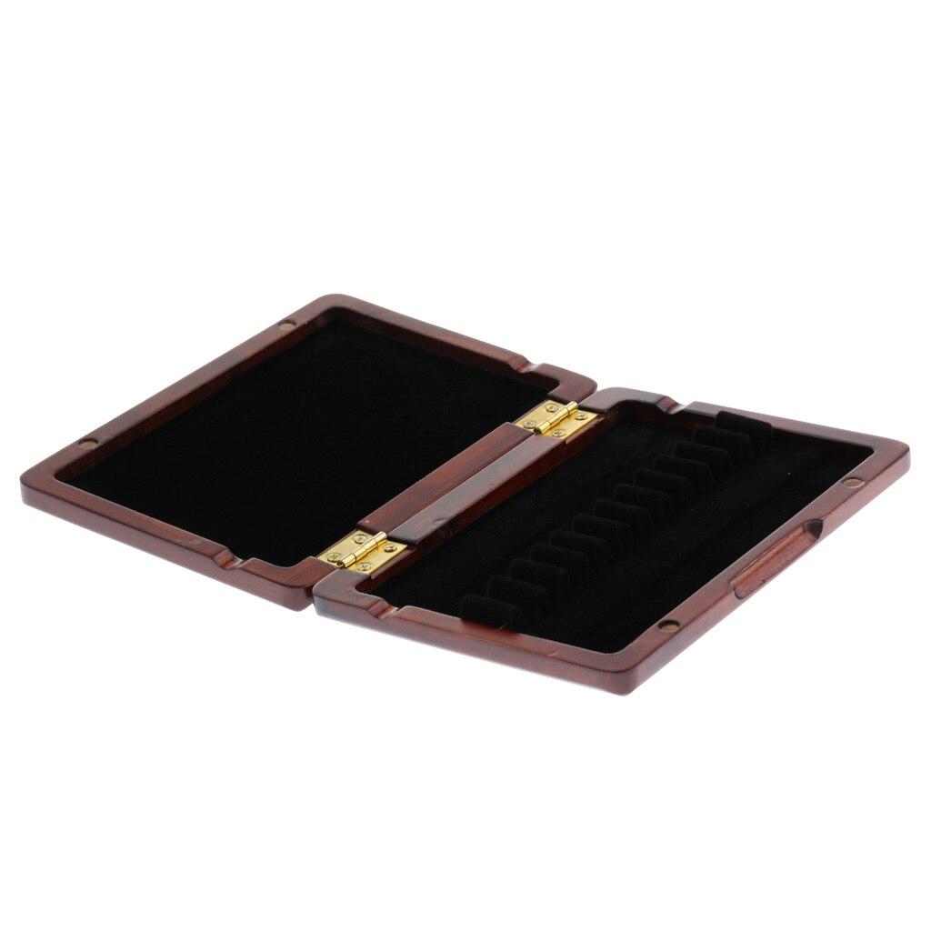 Caja de almacenamiento de madera de 12 Lengüetas para accesorios de piezas de lengüeta de Oboe (rojo oscuro)
