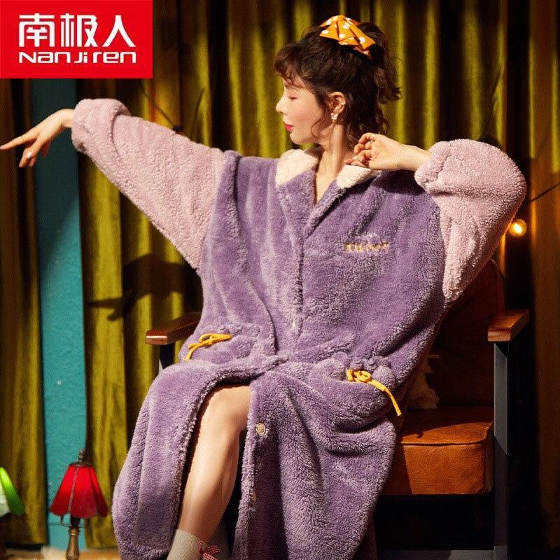 Nanjiren Women Underwear Women Clothing Warm Polyester Ankle-Length Flannel Women Floral Sweet Comfo