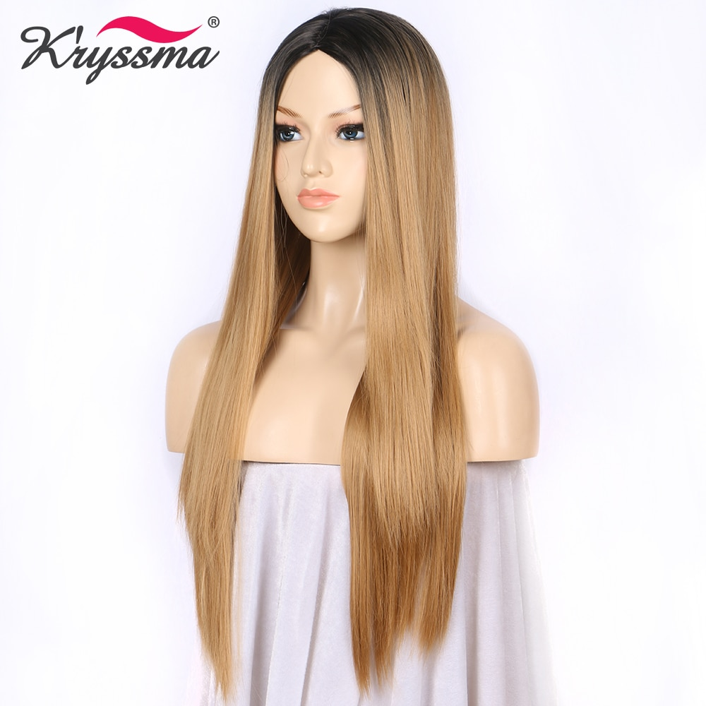 kryssma Synthetic Wig Brown Ombre Wig Blonde Long Straight Wigs for Women Black Roots Middle Part 130% Density Heat Resistant