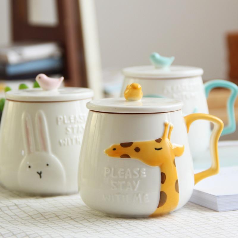 400ml Rabbit Elephant Giraffe Mug Creative Cute Cartoon Relief Water Cup Ceramic Stereo with Lid Lovers Gift Cup Drinkware