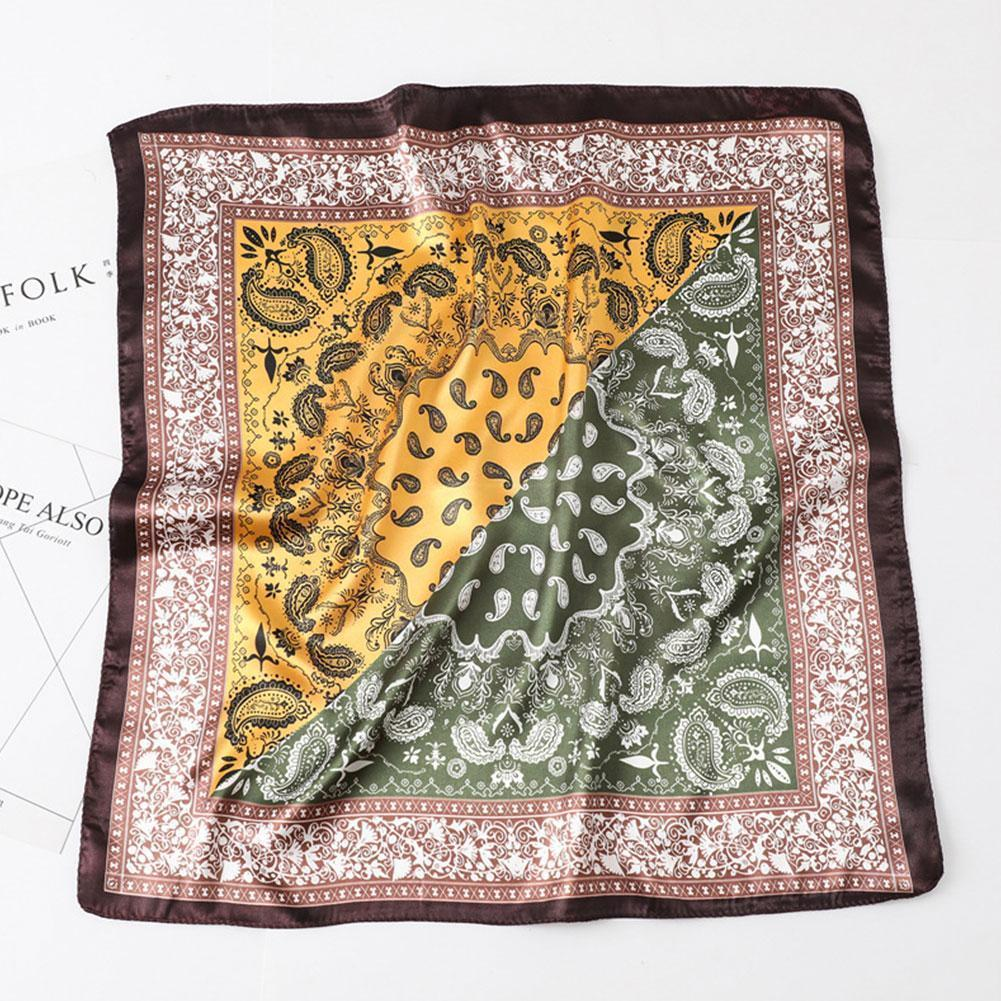 Retro Cashew Printed Satin Small Square Silk Scarf In Scarves Polyester Available Multifunction Seasons All Women O5B1