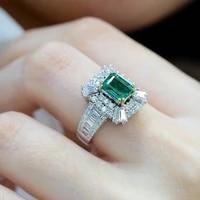 hot sale inlaid emerald zircon square princess ring micro inlaid full diamond engagement ring