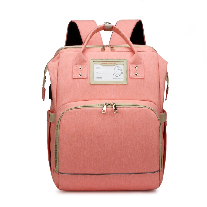 Large Pink Capacity Diaper Bag Backpack Waterproof Maternity Bag Baby Diaper Bags With USB Interface Mummy Travel Bag For Stroll
