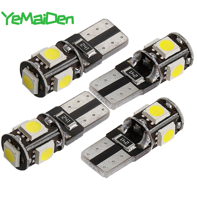 T10 LED Bulb Canbus 12V 5 SMD White 6000K 5W5 W5W LED Light No error Car plate License Interior Wedge Side Dome Reading Lamps