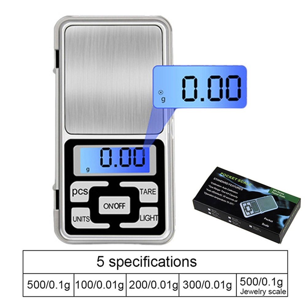100/200/300/500g 0.01/0.1g Mini Digital Scale High Accuracy Backlight Electric Pocket For Jewelry Gr