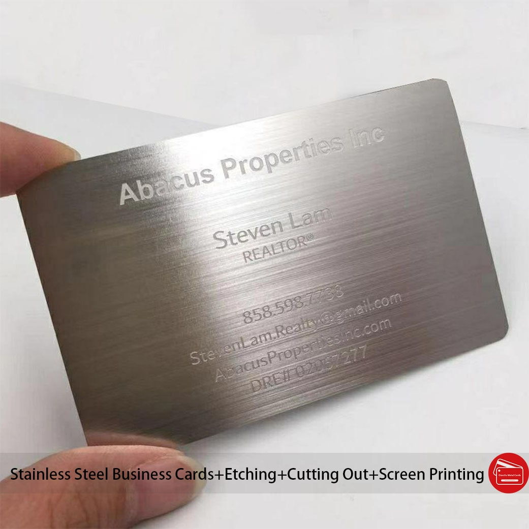 304 Stainless Steel brushed Metal Business Card With Etched