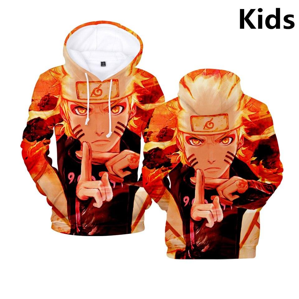 3 To 14 Years Kids Hoodies Uzumaki Naruto 3d Printed Hoodie Sweatshirt boys girls Anime Streetwear Jacket Coat Children Clothes