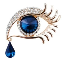 factory direct sale blue eye brooch pin with crystal rhinestones gold silver color