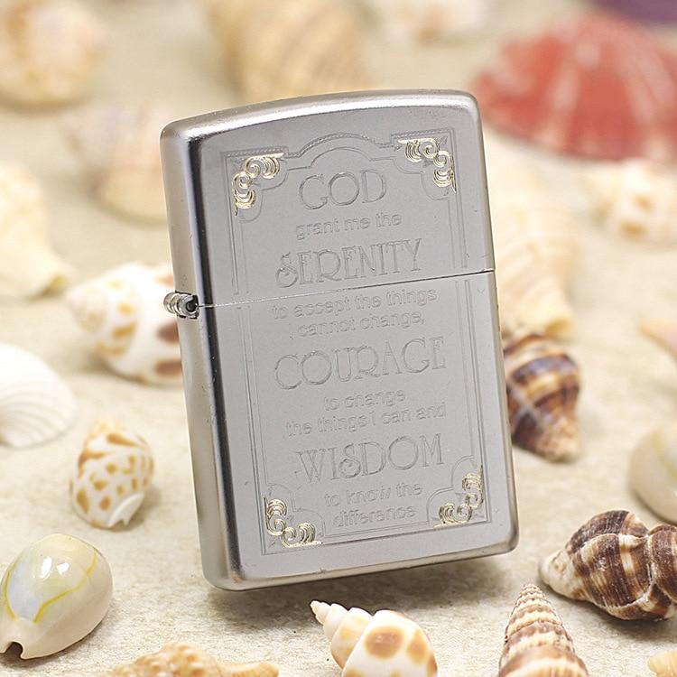 Genuino encendedor de aceite Zippo cobre a prueba de viento advertencia de Dios tallado cigarrillo keroseno encendedores regalo con código anti-falsificación