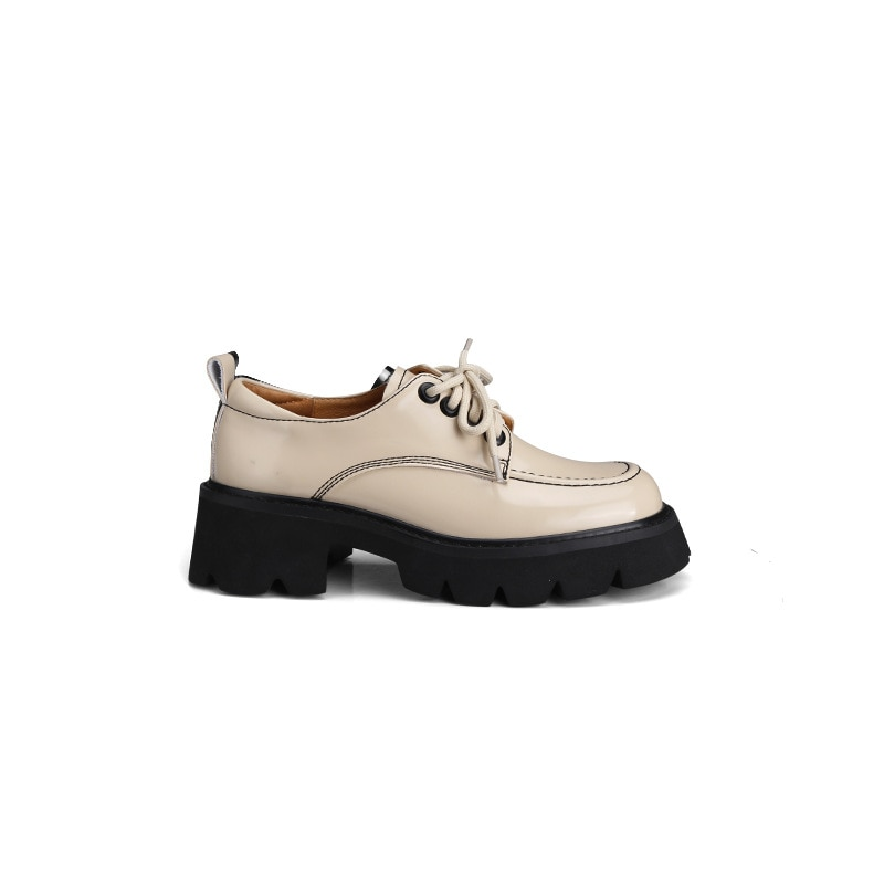 Single Shoes Women Spring Autumn Lace-up Contrast Thick-soled Loafers Retro Small PU Leather Shoes W