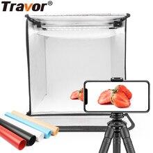 Travor 40*40cm 5 couleur fond pliant Photo boîte lumière LED tente Softbox table tir pliable tente photobox avec variateur