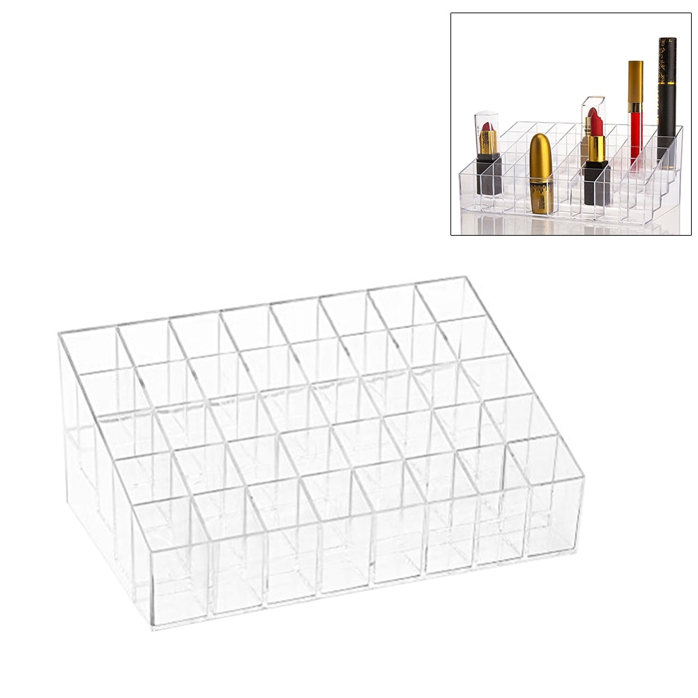 Lipstick Holder 40 Spaces Clear Acrylic Lipstick Organizer Display Stand Cosmetic Makeup Table Organizer for Lipstick Brushes