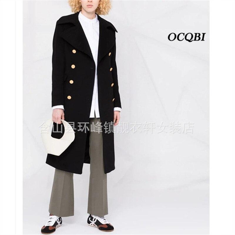حجم كبير موضة معطف طويل الصوف معطف أسود للنساء 2021 الشتاء معطف كوري الكشمير