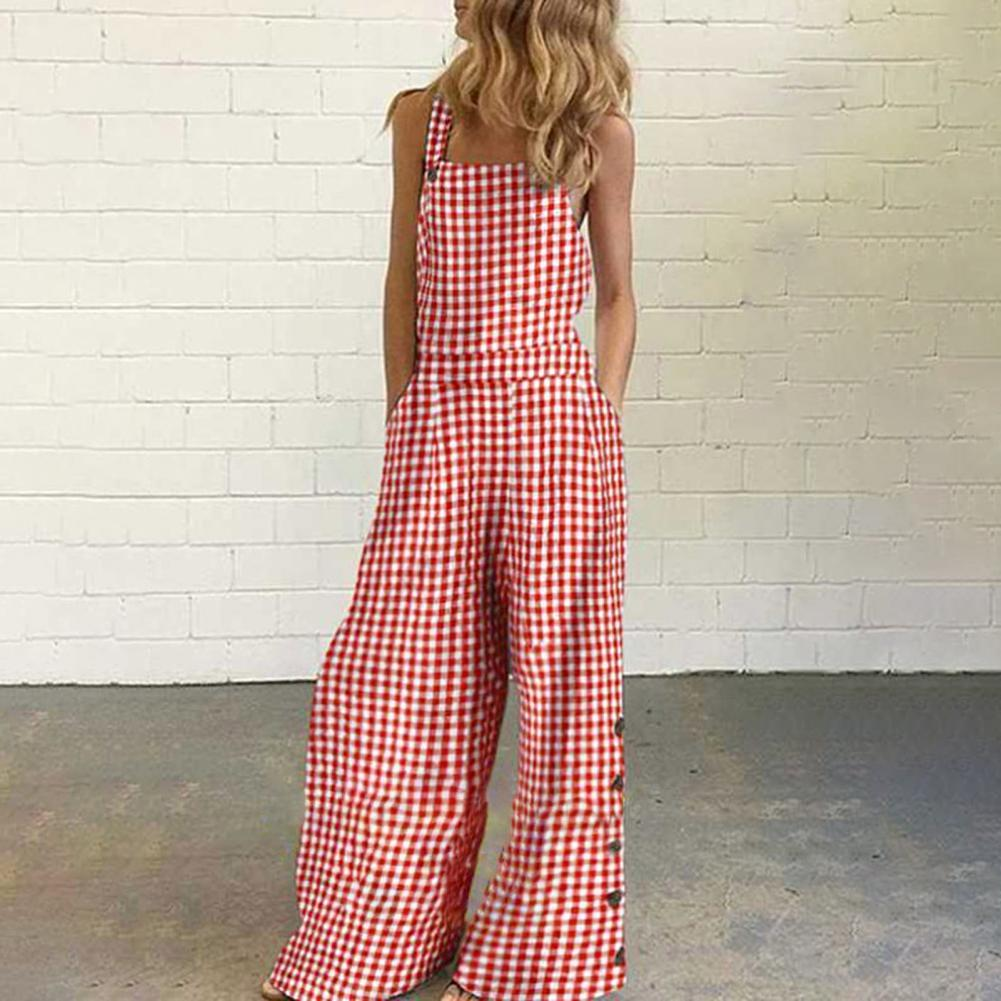 Fashion Women Jumpsuit Wide Leg Checkered Plaid Sleeveless Pockets Loose Suspenders Playsuit Vintage Checked Playsuits