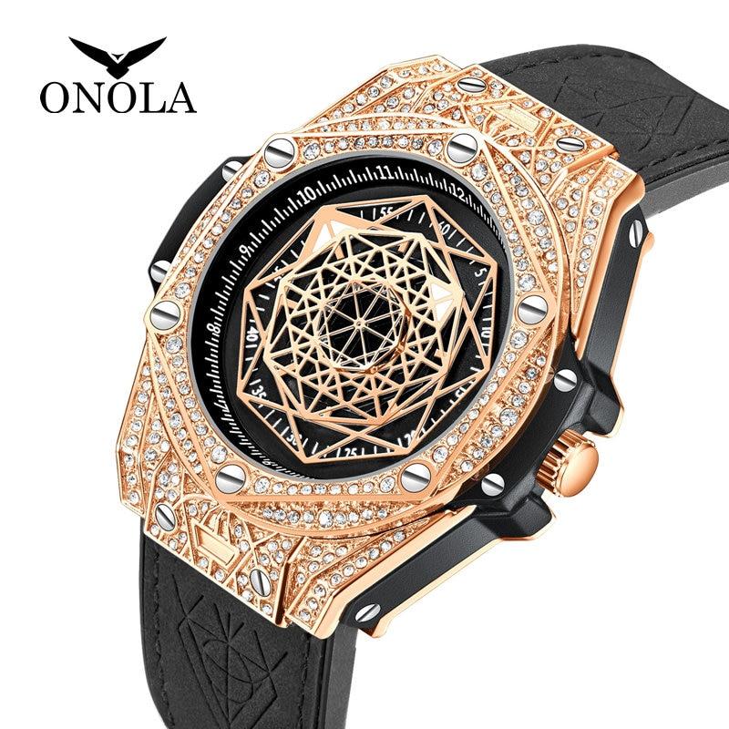 Topo da marca de luxo relógio para homem grande diamante couro analógico moda ouro relógios quartzo relógio de pulso relogio masculino