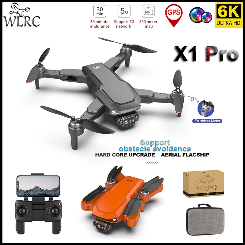 WLRC 2021 new drone X1 Pro Max 6K dual camera professional aerial photography obstacle avoidance quadcopter RC helicopter toys
