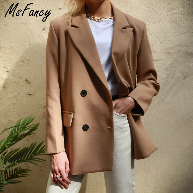 Msfancy 2021 Spring Blazer Women Double Breasted Oversized Suits Jacket Official Ladies Loose Long Sleeve Mujer Vestido MS001