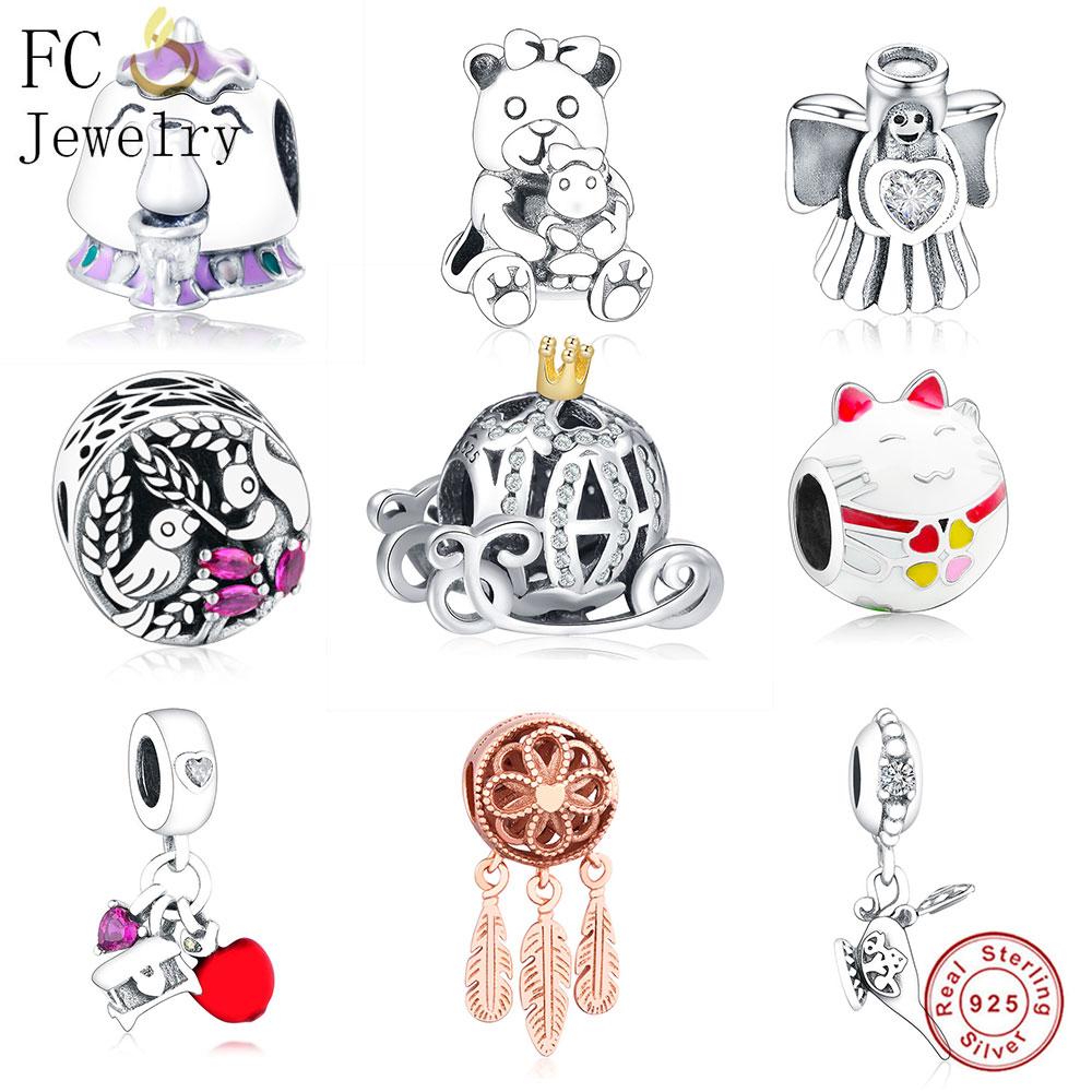 FC Jewelry, оригинальный браслет Pandora, серебро 925 пробы, Bobot, рыба, ангел, медведь, кошка, красная эмаль, чип, чашка, пони, бисер, Berloque, 2019