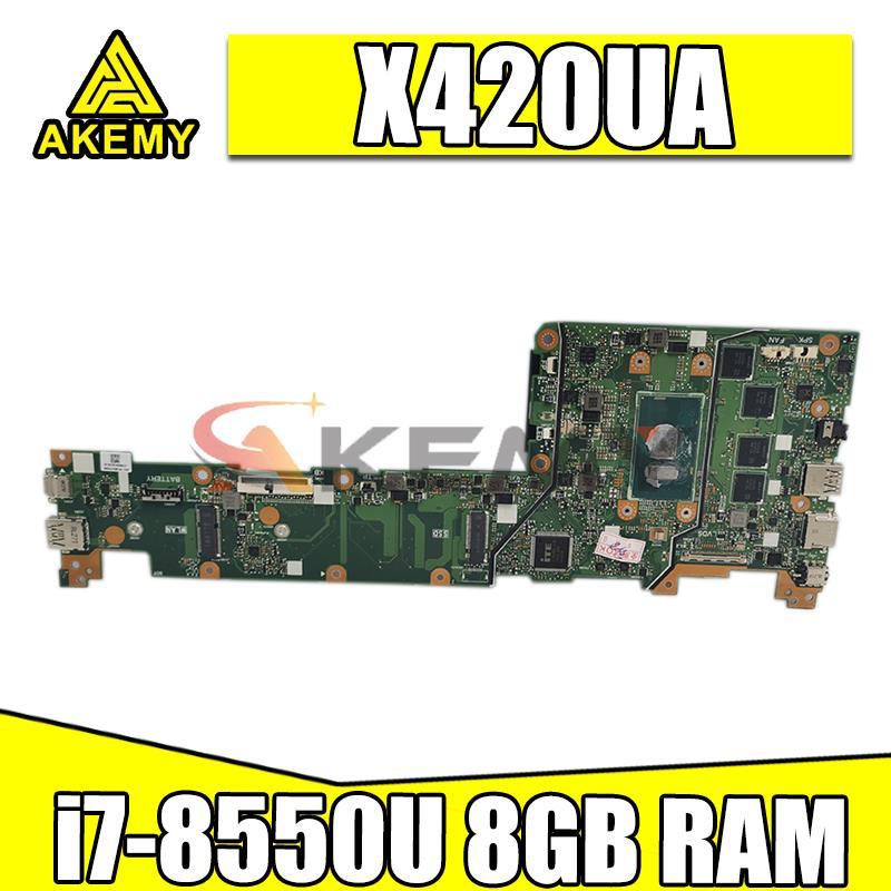Akemy ل ASUS VivoBook X420U X420UA Y406U Y406UA اللوحة الأم للكمبيوتر المحمول REV.2.0 اللوحة الرئيسية 100% اختبار العمل i7-8550U وحدة المعالجة المركزية 8GB-RAM