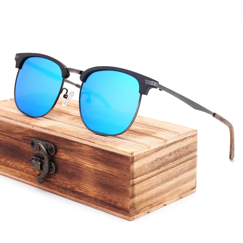 Acetate Wood Grain Polarized UV400 Sunglasses Men Women Brand Designer Semi Rimless Classic Oculos D