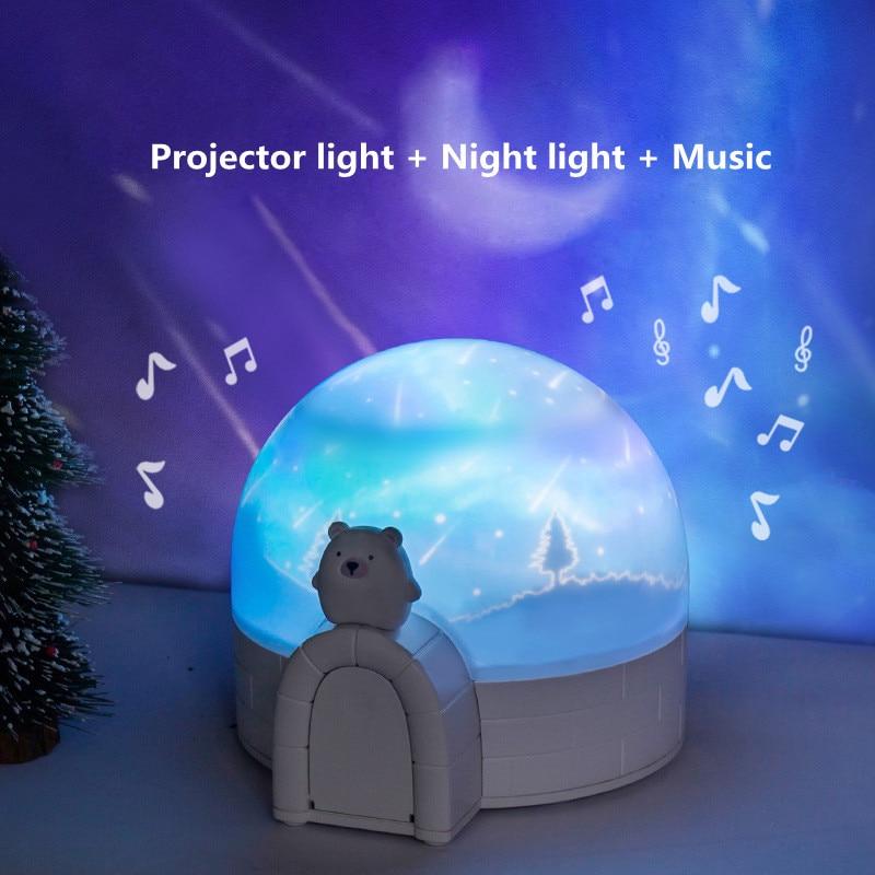 projetor de luz noturna aurora led rotativo ceu estrelado luz noturna universo