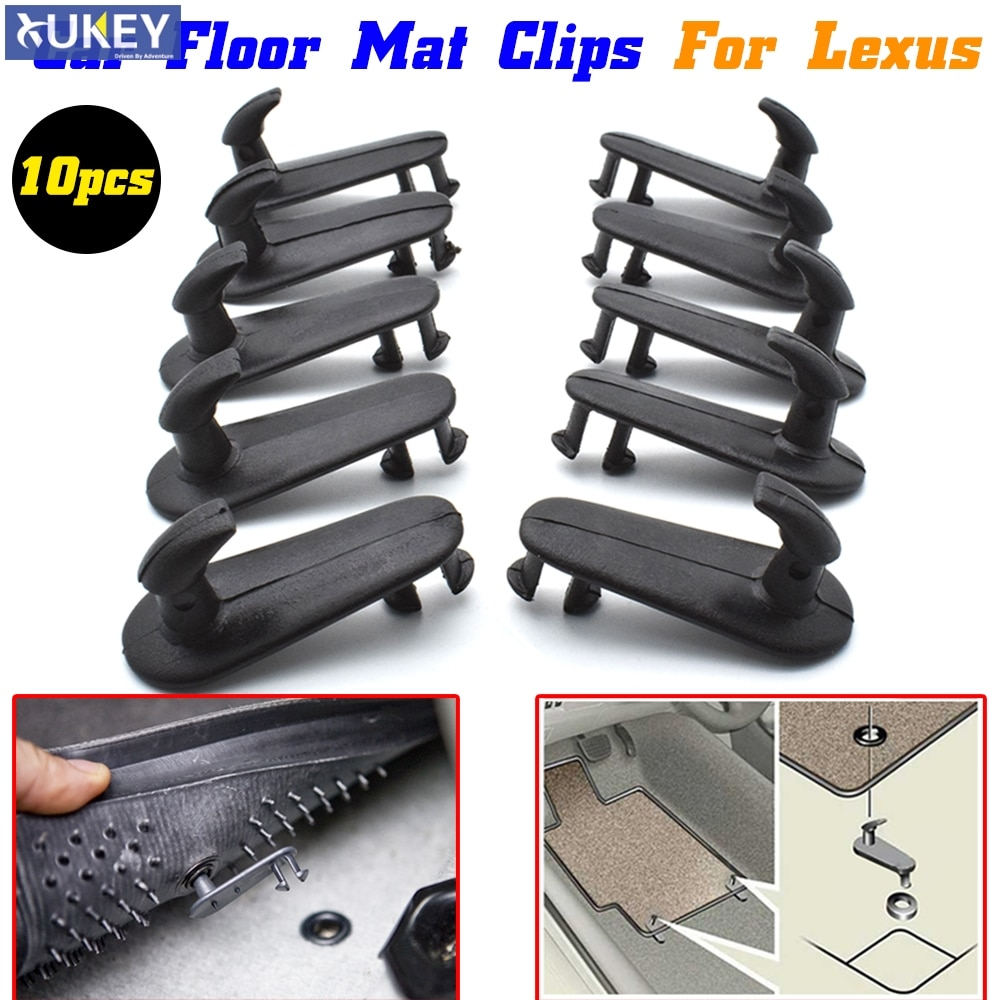 10pcs Car Floor Mat Clips Fixing Hooks Holders CLamps Buckles Grips For Lexus ES RX IS GX GS LS LX SC Carpet Retention Retainer