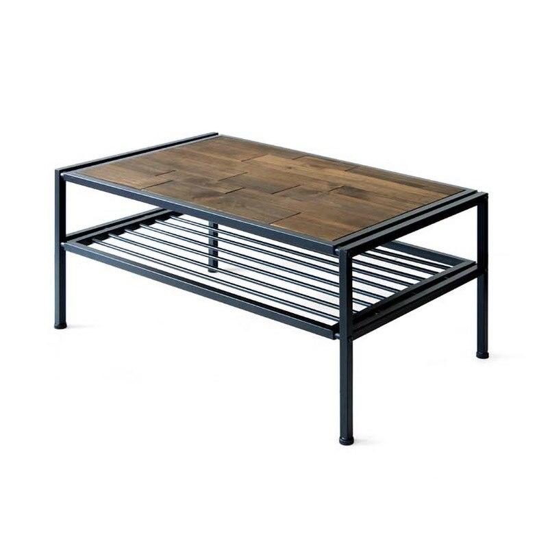 طاولة القهوة الصناعية لهجة مع تخزين رف مفتوح الخشب والمعادن الإطار أريكة مركز الجدول لغرفة المعيشة غرفة الاستقبال